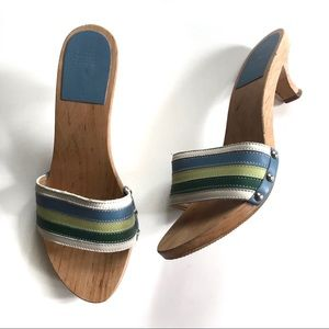 Coach Leather & Wood Striped Mules Sandals!